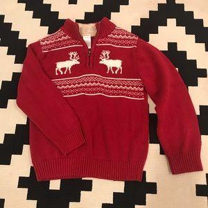 Boys 5-6 Pullover Zip Moose Sweater